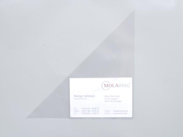 Dreiecktachen mit Visitenkartenhalterung, 150 x 150 mm, selbstklebend